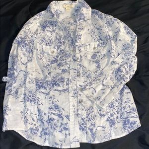 Forever 21 Button Up Blue and White